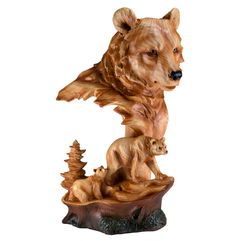 Bear Head Bust With Cub Faux Carved Wood Look Figurine 1