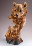Bear Head Bust With Cub Faux Carved Wood Look Figurine