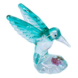Hand Blown Glass Aqua Iridescent Hummingbird Figurine With Rose 2
