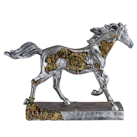 Steampunk Horse Depicting Gears and Metal Figurine