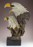 Double Bald Eagle Head Bust Carved Wood Look Figurine
