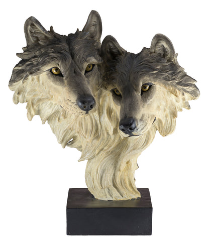 Wolf Head Bust With 2 Wolves Figurine Statue 1