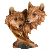 Wolf Head Bust With 2 Wolves Faux Carved Wood Look Figurine Statue 1