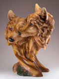 Wolf Head Bust With 2 Wolves Faux Carved Wood Look Figurine 3
