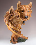 Wolf Head Bust With 2 Wolves Faux Carved Wood Look Figurine Statue 2