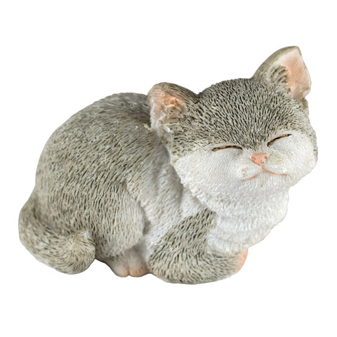 Mini gray and white kitten sleeping figurine