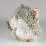 Mini Gray and White Kitten Sleeping Cat Figurine 2