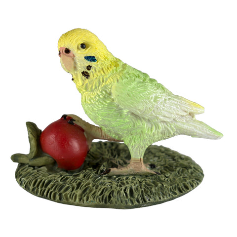 Mini Budgie Parakeet With Cherry Figurine