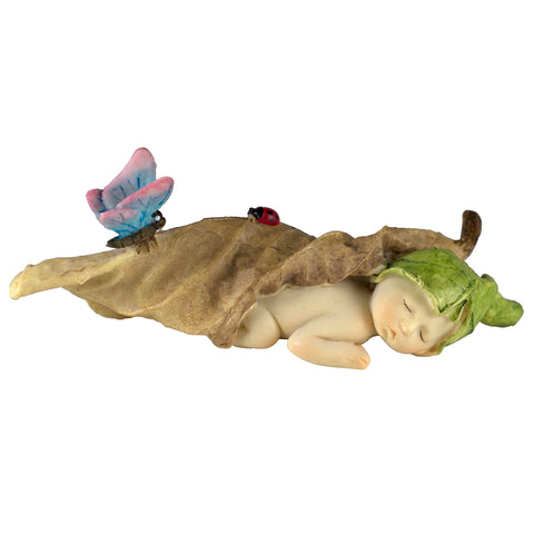 Baby Fairy Sleeping In Leaf Figurine With Butterfly & Ladybug