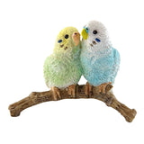 Mini Blue and Green Budgies Parakeets Figurine 1