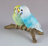 Mini Blue and Green Budgies Parakeets Figurine 3