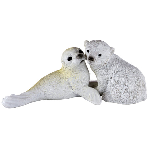Baby Polar Bear Cub and Seal Figurine 1