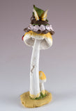 Ebony Baby Fairy Sleeping On Mushroom Figurine