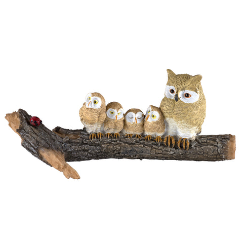 Mini Owl Family Mother & Babies On Tree Log Figurine