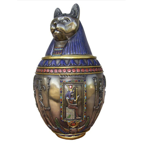 Egyptian Bastet Canopic Jar Bronze Colored Goddess Cat