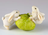 Miniature 2 White Bunny Rabbits Rolling Cabbage Figurine
