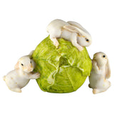 Miniature 3 White Bunny Rabbits Rolling Cabbage Figurine