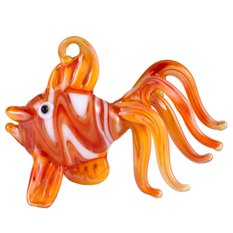Fancy Orange Fish Hand Blown Glass Figurine