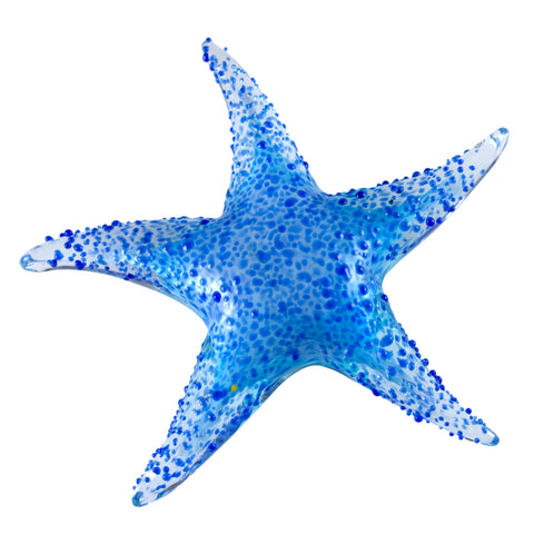 Blue Textured Starfish Hand Blown Glass Figurine