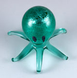 Miniature Hand Blown Glass Shimmering Silver Green Octopus Figurine 2