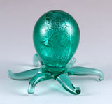 Miniature Hand Blown Glass Shimmering Silver Green Octopus 3