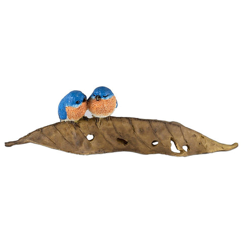Mini Bluebirds On Leaf Figurine