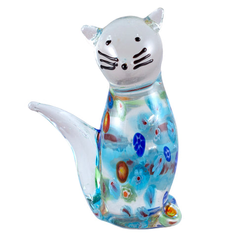 Blue Millifiori Tabby Cat Hand Blown Glass Figurine