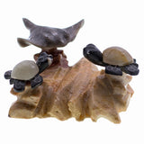 Carved Marble Stone Sea Turtles With Stingray Figurine 1