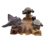 Carved Marble Stone Sea Turtles With Stingray Figurine 2