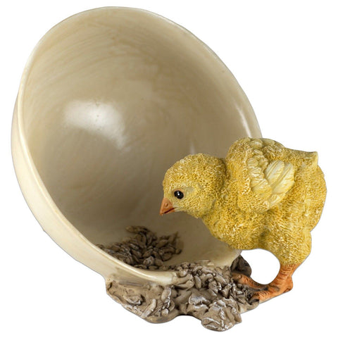 Baby Chick Eating Grain From Bowl Chicken Figurine