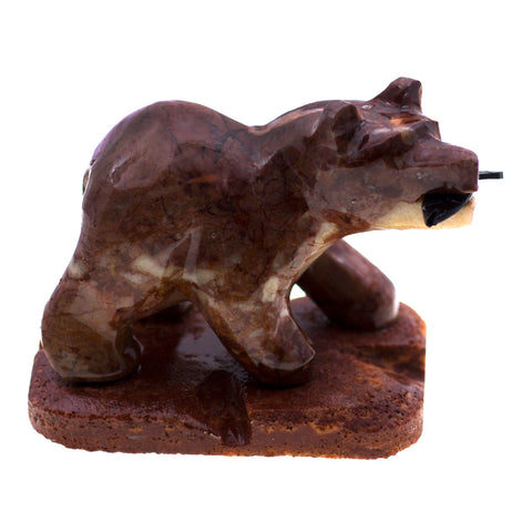 Carved Marble Stone Bear With Fish Figurine 1