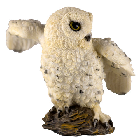 Mini White Snowy Owl With Wings Spread Figurine 1