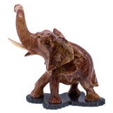 Carved Red Marble Stone Elephant Figurine 1