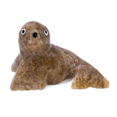Carved Marble Stone Brown Seal Sea Lion Figurine 6