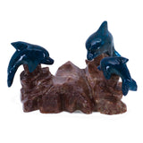 Carved Marble Stone 3 Blue Dolphins Figurine 1
