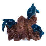 Carved Marble Stone 3 Blue Dolphins Figurine 2