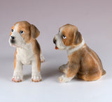 Boxer Puppy Pair Dog Figurines