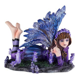 Mini Blue Purple Laying Fairy Figurine Statue