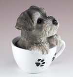 Schnauzer Puppy In A Tea Cup Dog Figurine 2