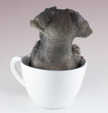 Schnauzer Puppy In A Tea Cup Dog Figurine 3