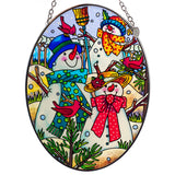 A Hill of A Lot of Snowmen Suncatcher Hand Painted Glass By AMIA 2