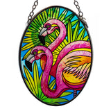 Flamingos Suncatcher Hand Painted Glass By AMIA Studios