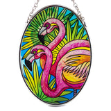 Flamingos Suncatcher Hand Painted Glass By AMIA Studios 2