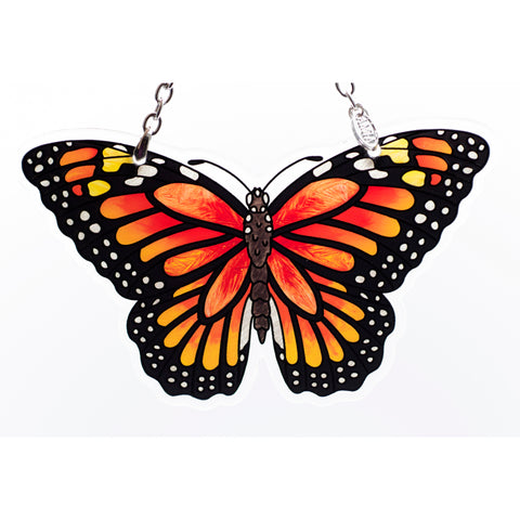 Orange Monarch Butterfly Glass Suncatcher AMIA Studios