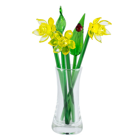 Glass Flowers Yellow Daffodil Mini Bouquet