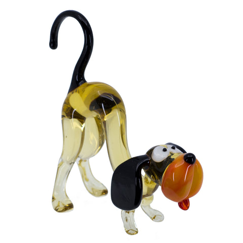 Lampwork Hand Blown Glass Arched Back Dog Figurine 2