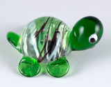 Miniature Dark Green Striped Turtle Hand Blown Glass Figurine