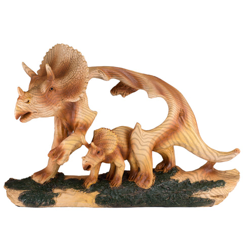 Triceratops Dinosaur Faux Carved Wood Look Figurine