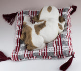 Bulldog Puppy Sleeping On Woven Bed Dog Figurine