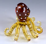 Octopus Miniature Yellow Spotted Borosilicate Glass Figurine 2